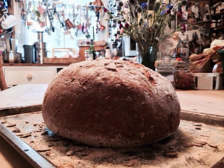 Nutty seedy half-n-half bread.
