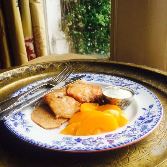 Live Below The Line Day 6: Breakfast Banana Barley Pancakes with peaches and yoghurt, 24p