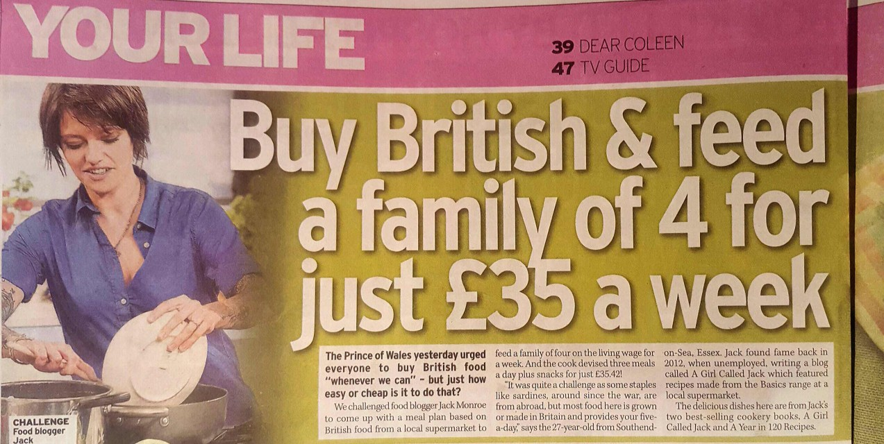 Feed a family of 4 for less than £9/week – me for the Daily Mirror