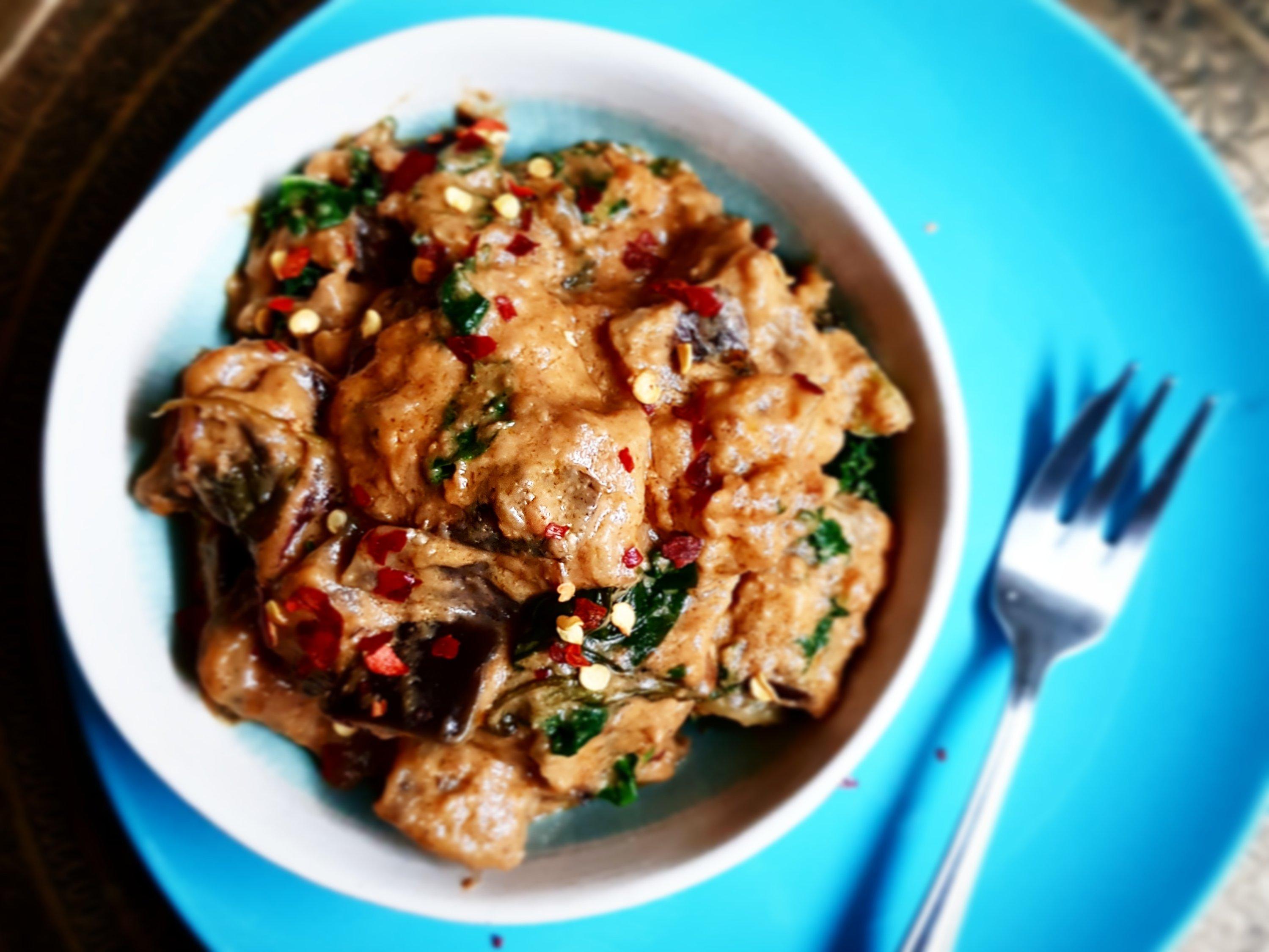 Aubergine & Kale Satay recipe by Jack Monroe